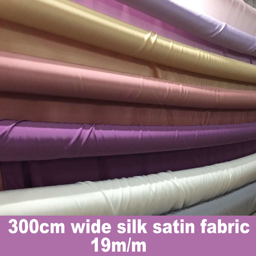 9 Colors Free SHIPPING 19m m 285cm Wide Width Silk Charmeuse Satin Fabric For Silk Bedding