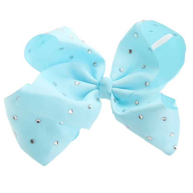 8'' Big bowknot Hair Band Satin Ribbon Girls hairpin with diamond large bow solid color hair clip jojo Headband free shipping 10pcs lot new double satin bow hair clip rhinestone bowknot hairpin girls kids barrette