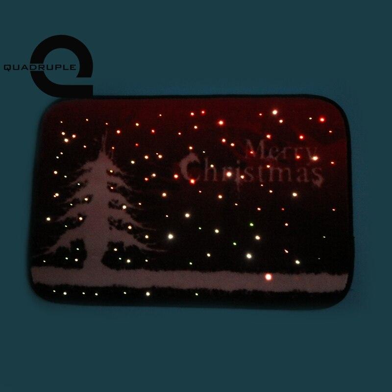 купить Quadruple Optical Fiber Light Door Mat LED Induction Star Light Glowing Flashing Mat Merry Christmas Party Outdoor Carpet Decor по цене 3229.2 рублей