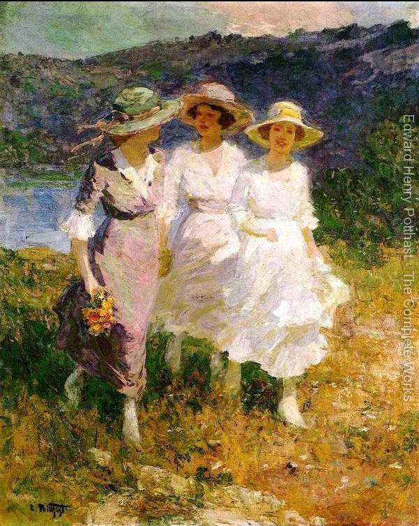oil painting woman Walking in the Hills by Edward Henry Potthast High quality Hand painted Canvas Art Home Decor
