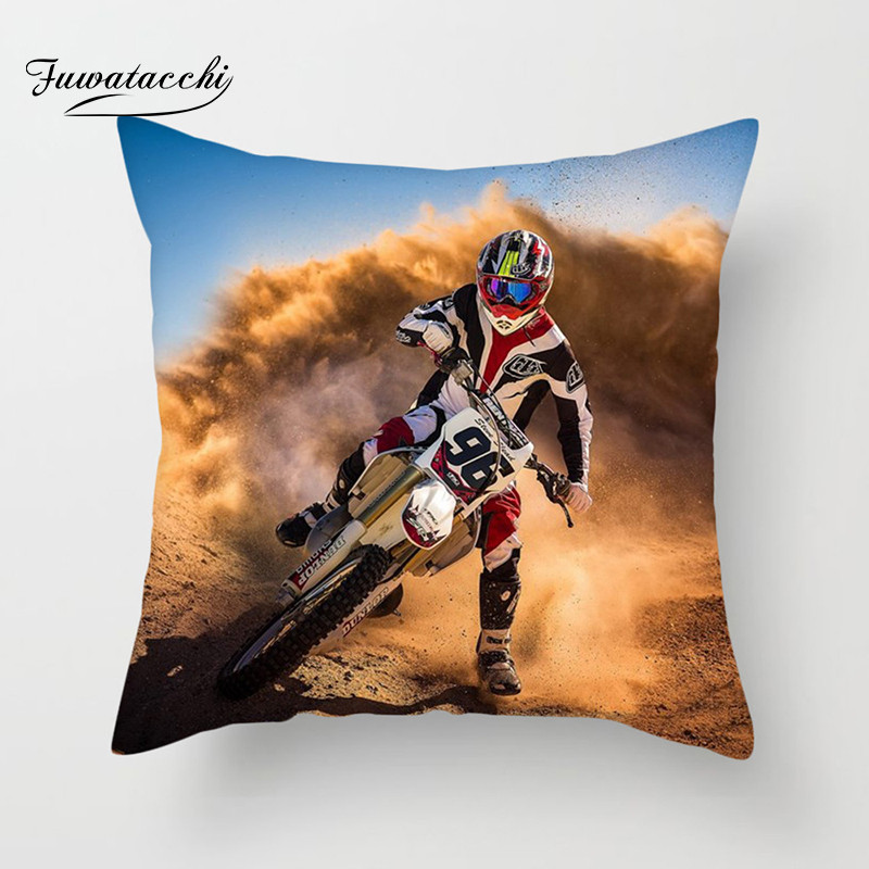 Fuwatacchi Cool Motorcycle Cushion Cover Cross-country Style Pillow Cover For Home Sofa Car Decorative Pillowcases