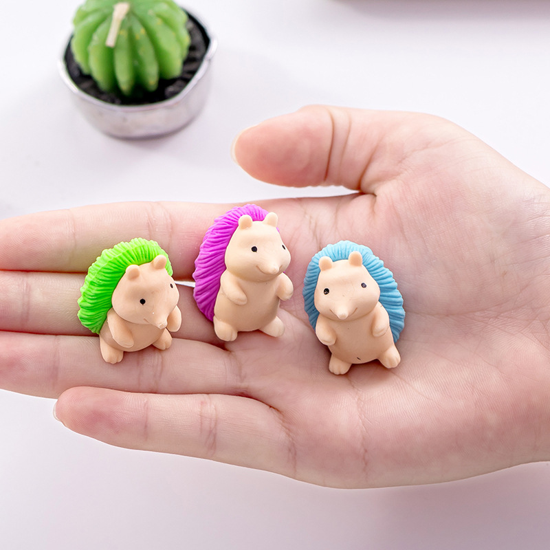 1pcs Soft Durable Cute Hedgehog Pencil Rubber Erasers For Kids Student Stationery School Supplies