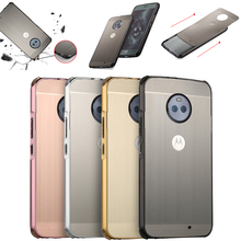 цена на For Motorola Moto G6 Plus Case for Moto G6+ Brushed Back Cover Hard Case with Plating Metal Frame Case for Moto G6 Plus cover