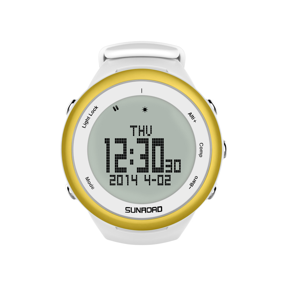 SUNROAD FR852A Climbing Men Sports Watch-Pedometer Barometer Altimeter Compass Waterproof Digital Smart Watch (Gold) sunroad 2018 new arrival outdoor men sports watch fr851 altimeter barometer compass pedometer sport men watch with nylon strap