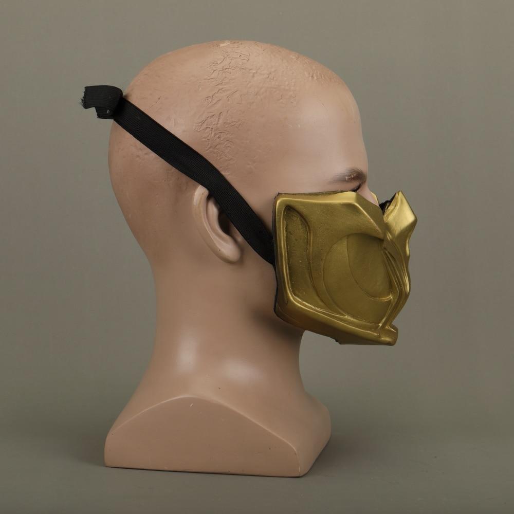 2019 New Mortal Kombat X Scorpion Hanzo Hasashi Sandal Wood Mask Half Face PVC Masks Adult Men Cosplay Costumes Halloween Mask (9)