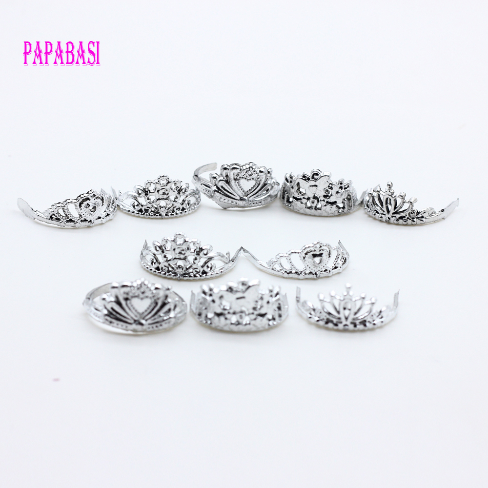 10pcs/set Silver Plating Crown Decoration Accessory For Barbie Dolls Girl Gift Toy
