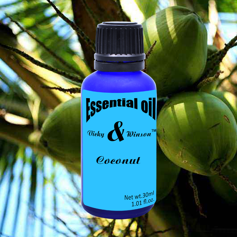 Vicky&winson Coconut Aromatherapy Essential Oils 30ml Orgnic Virgin Coconut Oil 100% Natural Skin Hair Care Oil Deodorization