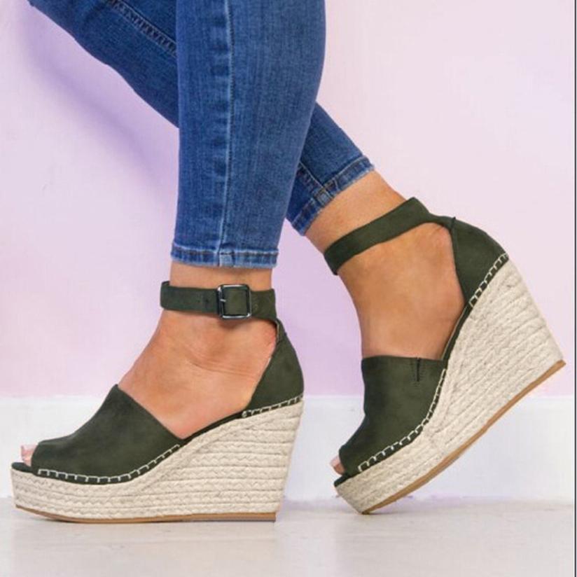 YOUYEDIAN 2018 New Summer Sandalia Feminina Sandalia Feminina Salto Alto Grosso Platform Sandals Wedges High Heel #**