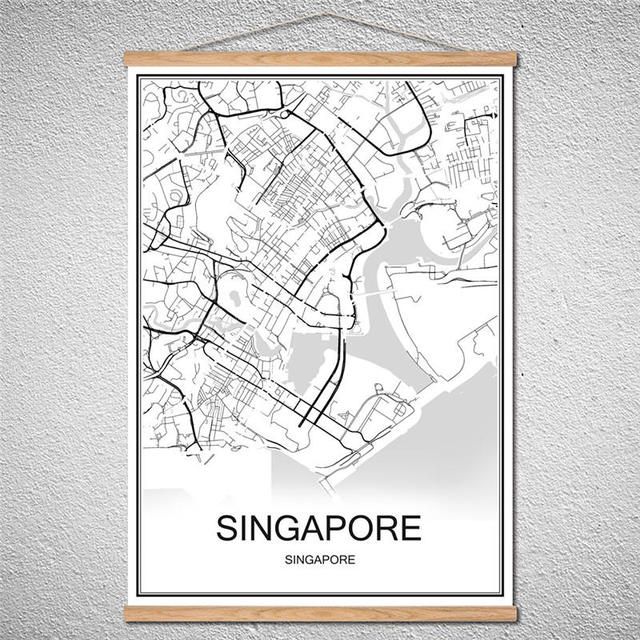 Customized pattern singapore modern poster world map city abstract customized pattern singapore modern poster world map city abstract print picture oil painting canvas with frame freerunsca Image collections