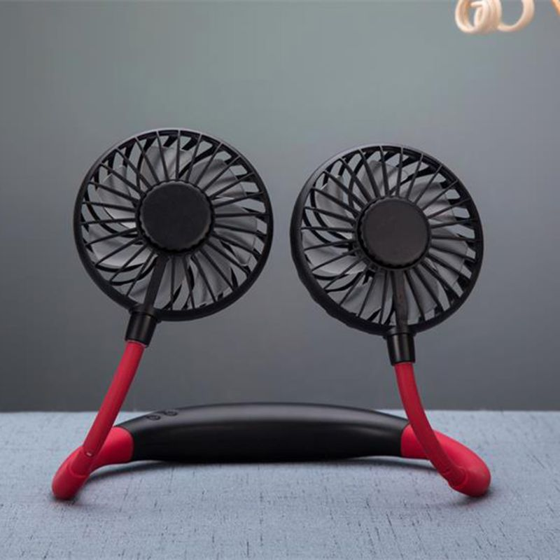 Mini Hand Free Small Fan Battery Mini Portable Fan With Colorful Lights Two Fans Hanging Around The Neck For Sport