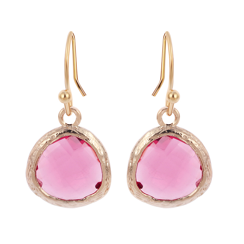 cheap gold earrings 1pair colorful earrings beautiful pink earrings 4429