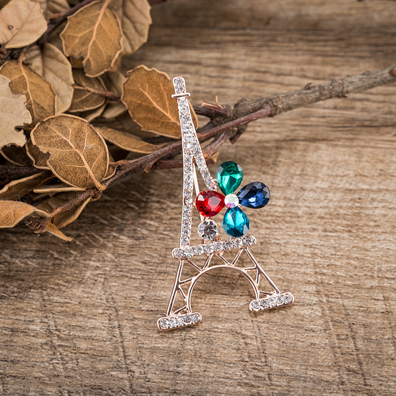 TDQUEEN New Fashion Paris Eiffel Tower Crystal Brooches For Women Jewelry Commemorative Brooches pins Gift (4)