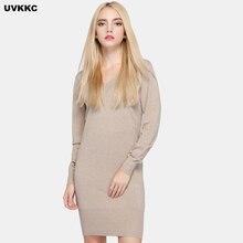 Uvkkc 2017 Для женщин трикотажные Платья для женщин Femme халат тонкий сексуальный Хаки Bodycon Платья-свитеры с длинным рукавом однотонные осенние трикотажные Vestidos