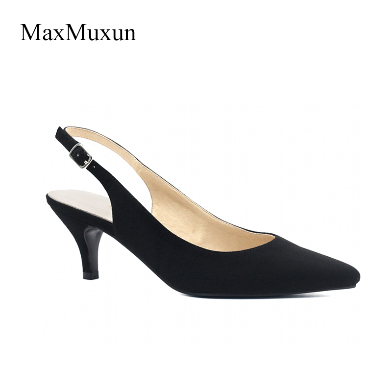MaxMuxun Women High Heels Pointed Toe Classic Slingback Pumps Sexy Ladies Dress Court Formal Pink Yellow Red Wedding Dance Shoes maxmuxun women s wedges platform pumps high heels round toe court shoes classic office ladies suede pumps brown black blue size