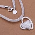 Оптовая продажа посеребренное ожерелье и кулон, модные ювелирные аксессуары, инкрустированное каменное сердце кулон серебряное ожерелье - фото