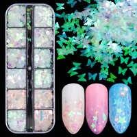 1 caso de uña Sinfonía arte brillo lentejuelas copos holográfica forma mixta 3D mariposa rebanada espumosos manicura decoración JIHW-2