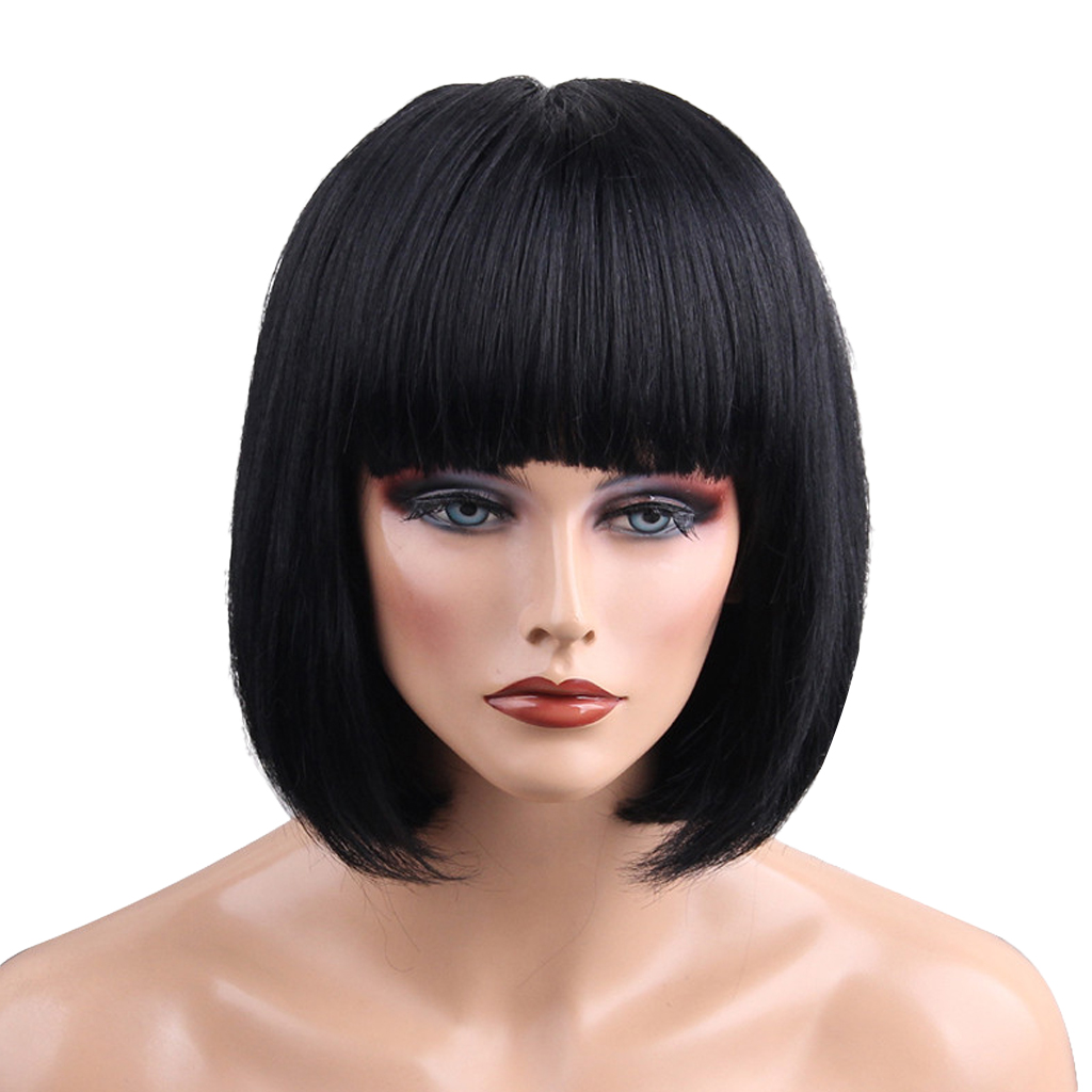 Lady Black Wig Bob Hairpieces Human Hair Neat Flat Bangs Wig Heat Resistant Short Bob Style Straight Wigs Cosplay Hair 7a hot charming short bob cut wigs with baby hair glueless virgin brazilian short full lace wigs bob for black women free ship