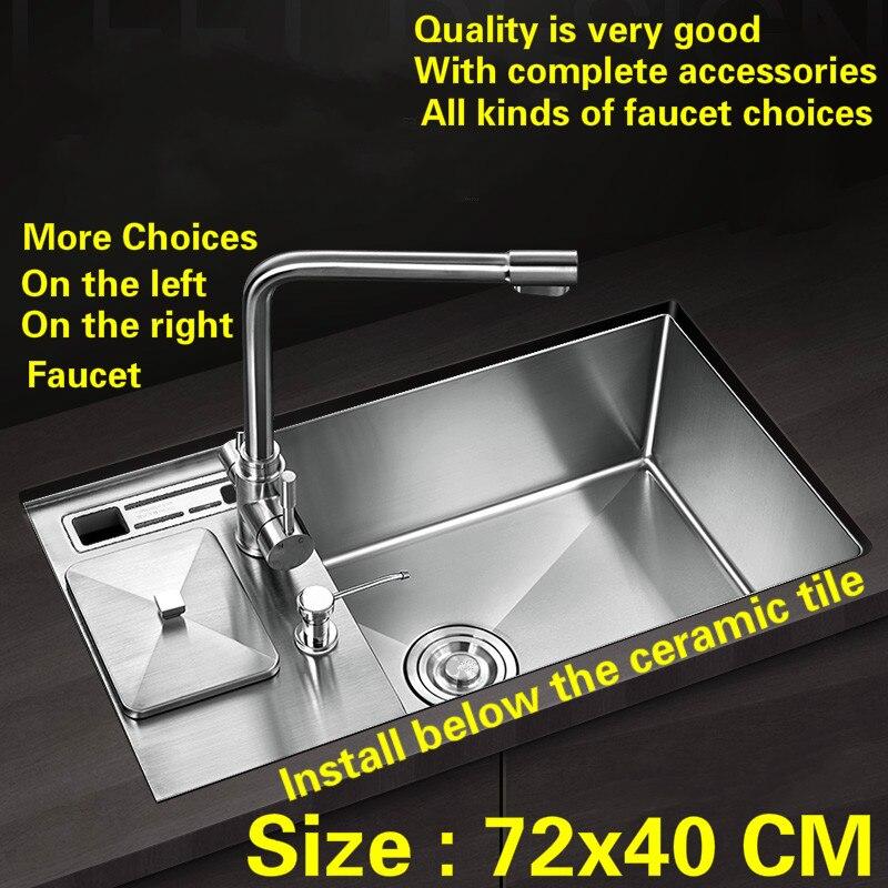 Kostenloser versand küche manuelle waschbecken einzigen trog 304 lebensmittel-grade edelstahl wasserhahn ist auf die links und rechts heißer verkauf 72x40 CM