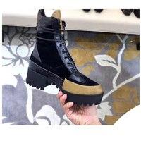 Роскошные известные бренды обувь модные пикантные кожаные толстый каблук Женские ботинки высокая обувь на каблуке с круглым носком высоко