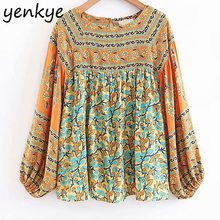 Women Vintage Floral Printed Boho Blouse Lady O Neck Lantern Sleeve Casual Plus Size Summer Tops blusas LJPZ8734