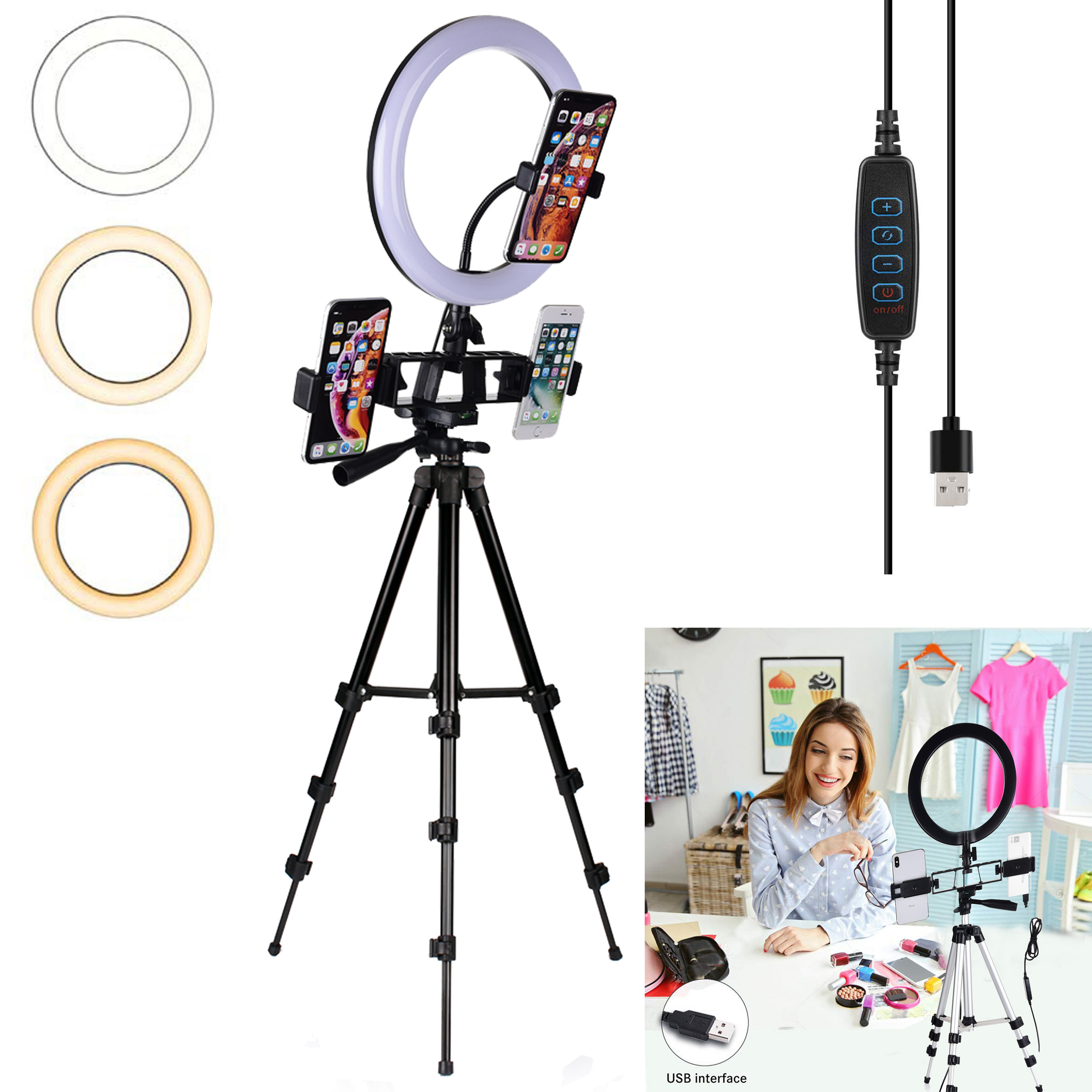 <font><b>LED</b></font> Ring Licht Dimmbare Ringlight Bi Farbe 3200K 5500K Fotografie Foto Studio YouTube Video Schießen Ring Licht <font><b>Lampe</b></font> & stativ image