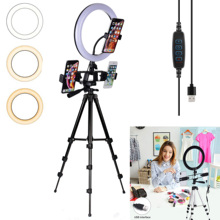 LED Ring Light Dimmable Ringlight Bi Color 3200K 5500K Photography Photo Studio for YouTube Video Shooting Lamp Black Tripod
