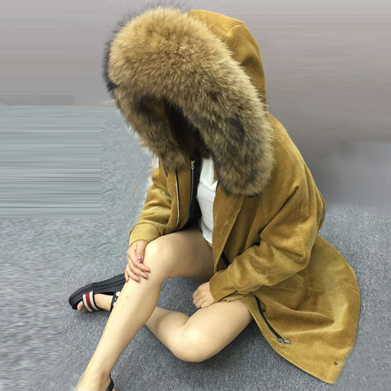 Overcoat corduroy jacket long collar large fur collar 2017 thicker women white duck   down     coat   loose plus size outerwear QH0995