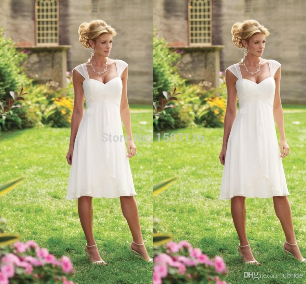 Simple Summer Beach Wedding Dresses White Sweetheart Cap
