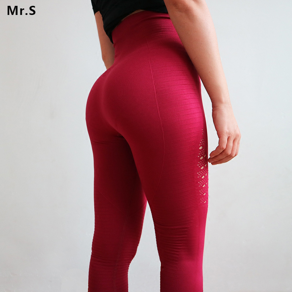 все цены на Diqian Super Stretchy Women Gym Tights Energy Seamless Tummy Control Yoga Pants High Waist Sport Leggings Purple Running Pants онлайн