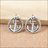 Newest 50Pcs Vintage Charms Unique Silver Tone Alloy Round Anchor Shape Bracelet Charm Necklace Pendants For