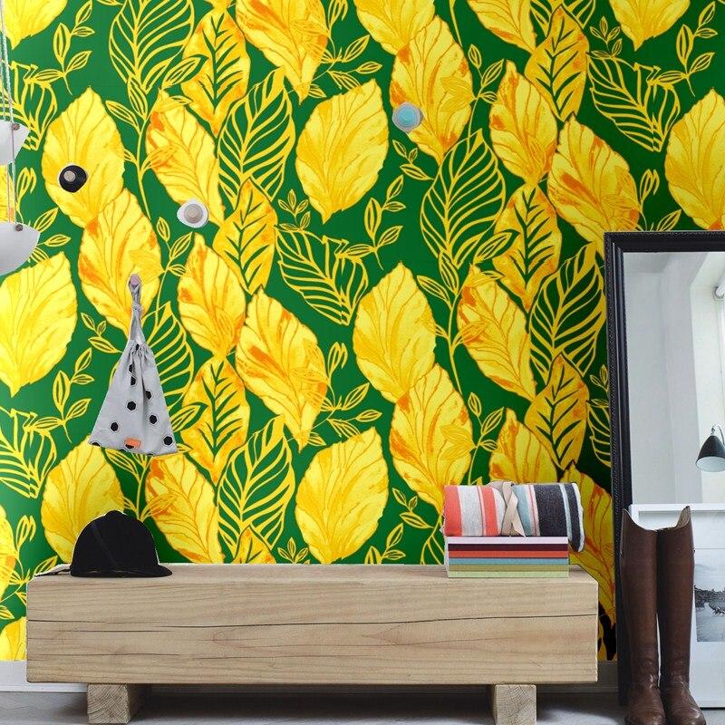 Nouveau sud-est asiatique bananier feuille papier peint étanche noir Spa papier peint salon salle à manger canapé fond papier peint rouleau