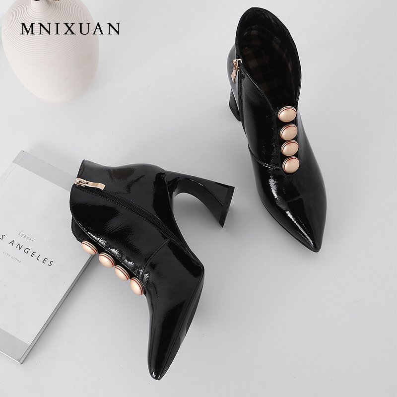 MNIXUAN Handmade sexy women high heels shoes winter ankle boots fashion patent leather pointed toe height 8cm zipper short bootsMNIXUAN Handmade sexy women high heels shoes winter ankle boots fashion patent leather pointed toe height 8cm zipper short boots