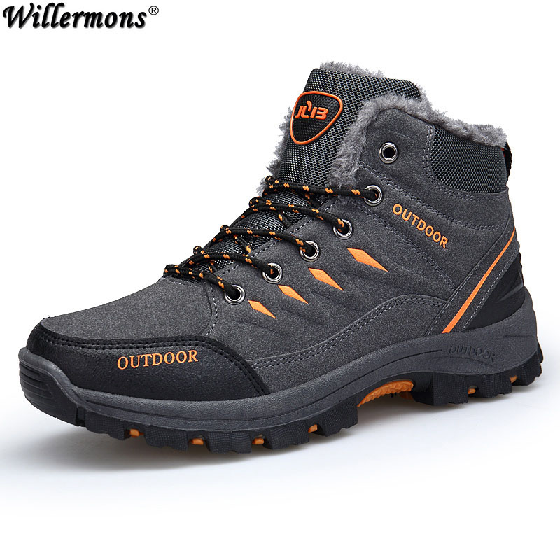 Winter 2018 Men's New Outdoor Cotton Snow Boots Shoes Men Anti-slip Warm Short Ankle Boots With Fur Botas Hombre Sapatos 2017 new  warm solid anti slip snow