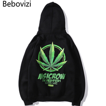 Bebovizi 2019 Men Hip Hop Leaf Print Hoodie Sweatshirt Streetwear Black Harajuku Pullover Cotton Fleece Top Quality