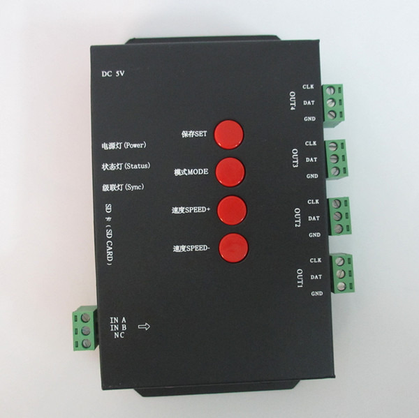 T4000 RGB LED Controller Configurable SD Card DMX512 WS2811 WS2801 WS2803 LP6803 dmx rgb sd card led controller programmable with software