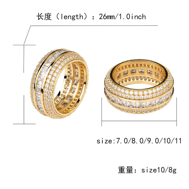 Hip Hop Micro Paved AAA Cubic Zirconia Bling Ice Out Round Finger Rings for Men Hiphop Rapper Jewelry Gold Silver