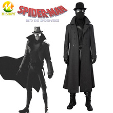 Spider Man Into the Spider Verse Noir Cosplay Costume Spider Man Noir Suit Vest Jacket Halloween Costume for Men Custom Made
