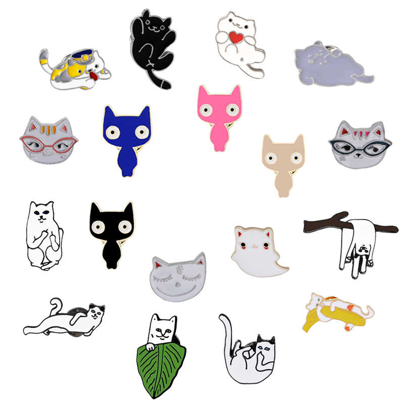 Cute Cat Brooch Fashion Creative Animal Pins Denim Coat Hat Backpack Accessories Enamel Pin Badges Brooches Jewelry Lovers Gifts
