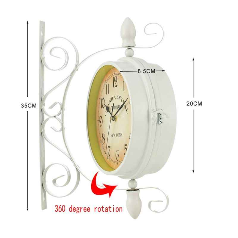 Stile Europeo Classico Orologio da Parete Double Sided Vintage Retro Home Office Decor