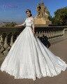 Loverxu Elegant Half Sleeve Boat Neck Ball Gown Wedding Dresse 2016 Sexy Appliques Sashes Bohemain Vestidos De Novia Plus Size