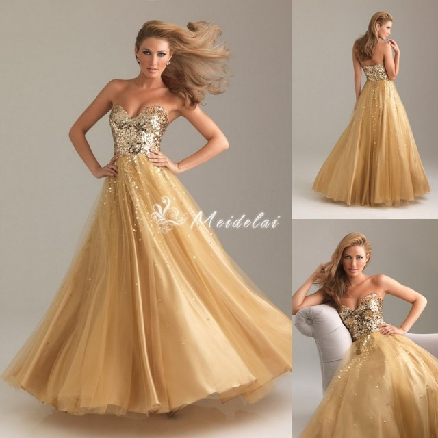 2017 New Arrival Sweetheart A Line Tulle Floor Length Fashion Gold Corset Prom Dresses