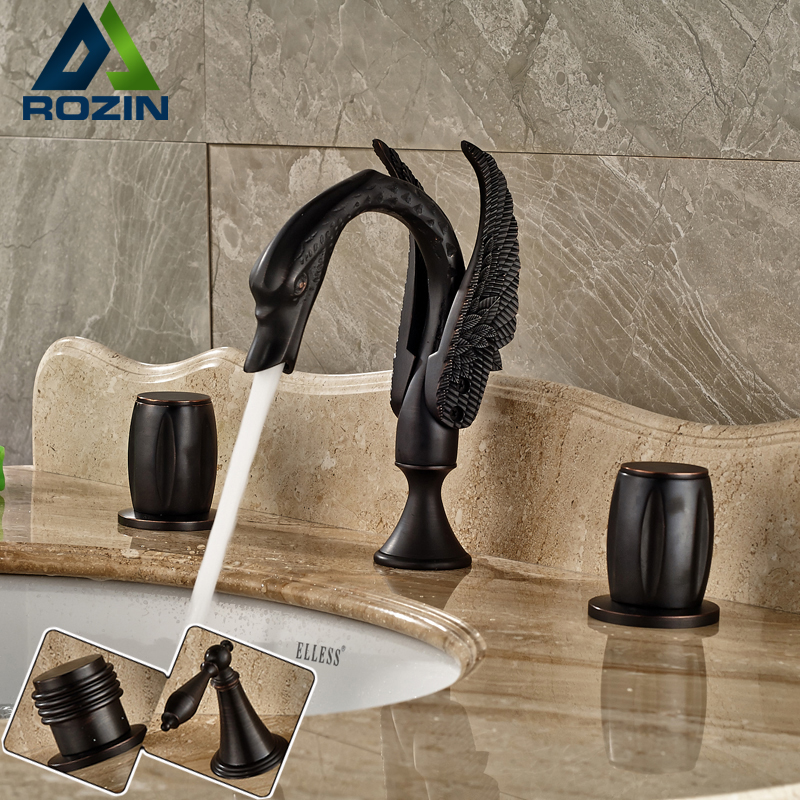 Oil Rubbed Bronze Creative Swan Deck Mount 3 Holes Basin Mixer Faucet Widespread Bathroom Sink Faucet Dual Handles bbk bta190