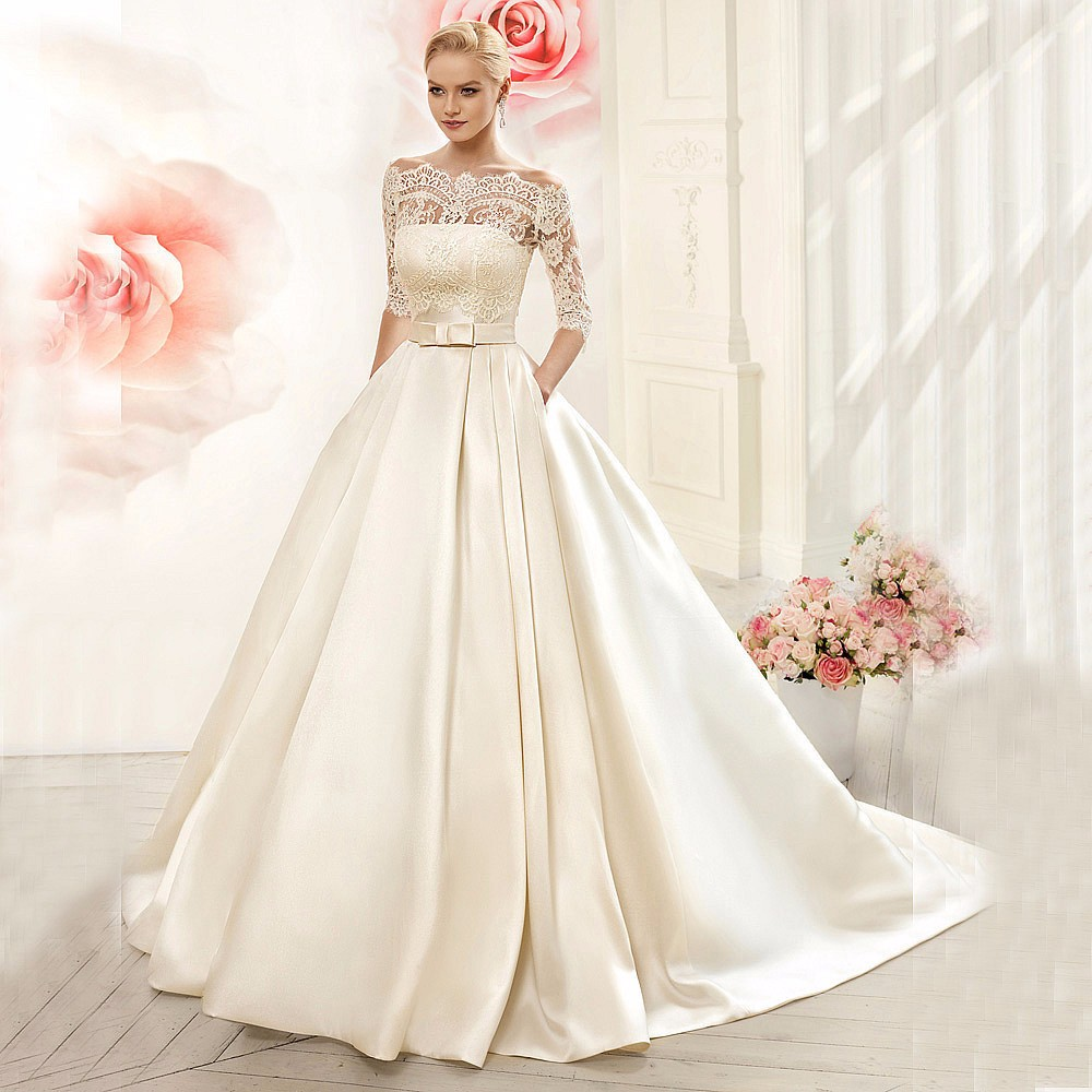 Lace Wedding Dresses 2019 Satin With Jacket See Though Half Sleeves Bridal Wedding Dress Robe De