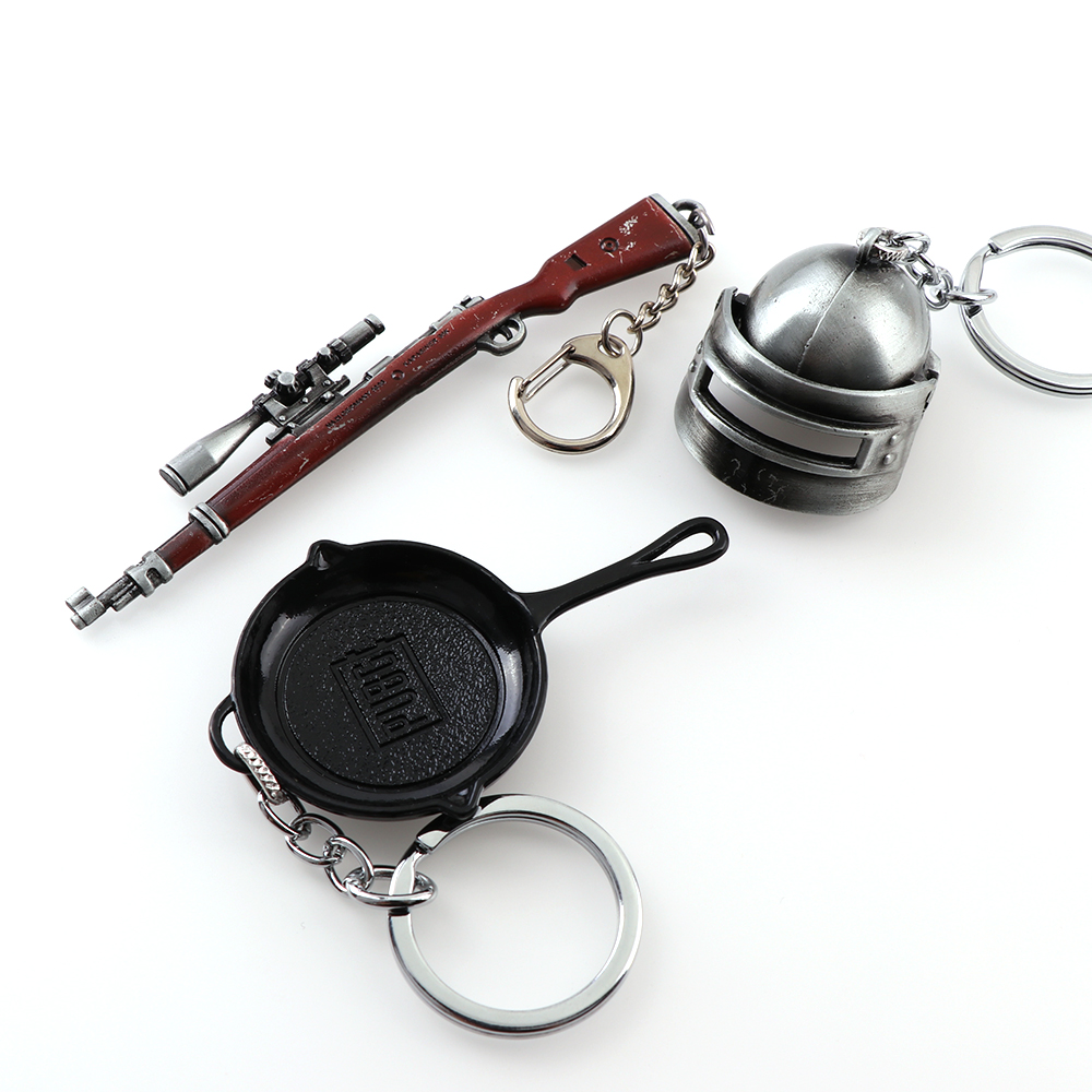 1Pieces Hot Game PUBG Pan Helmet Gun Pan Playerunknown's Battlegrounds Cosplay Props Alloy Armor Model Key Chain Keychain
