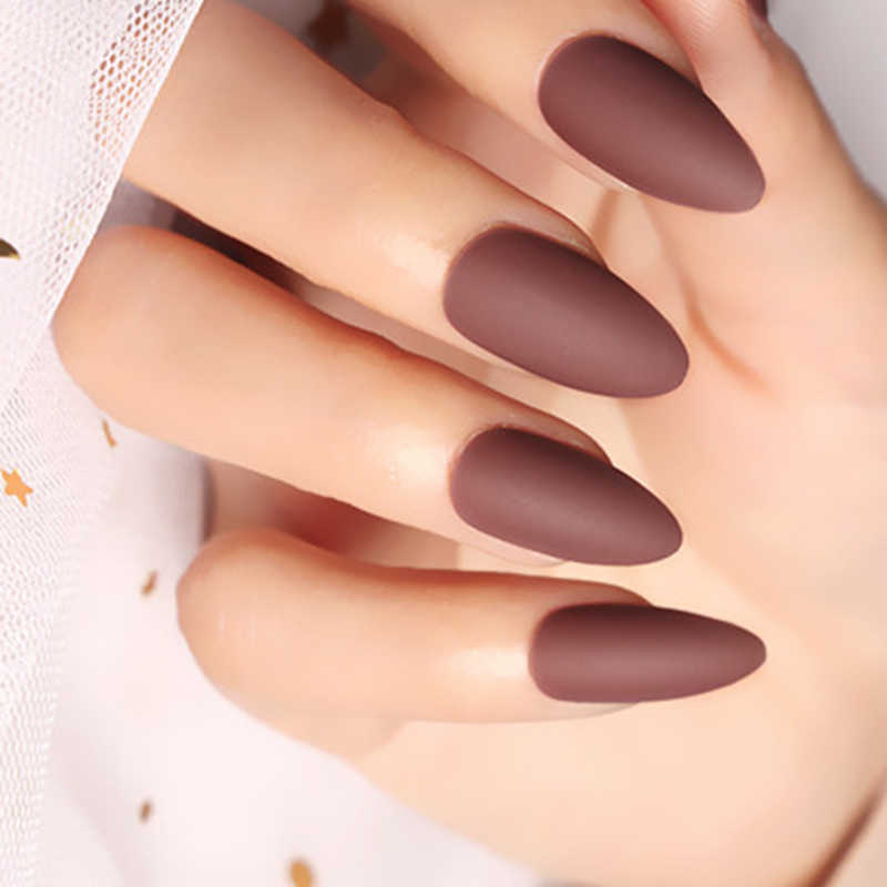 False nails brown matte matte nail tips classic nail art tips 2019 24pcs MJ06