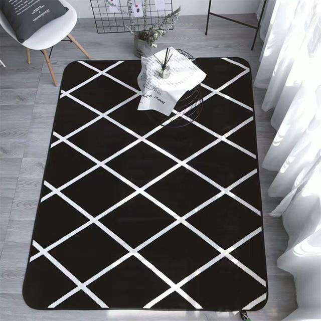 black and white geometric rug. simplicity black white geometric cross lines living room bedroom decorative carpet area rug bathroom foot door and r