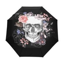 flowers skull Umbrella Custom Foldable Rain Wind Resistant Windproof Floding Travel