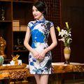 Estilo clásico Satén mujer Mini Qipao Cheongsam Chino de La Vendimia Sexy vestido de Mujer Vestido de Flores Tamaño Sml XL XXL 216013