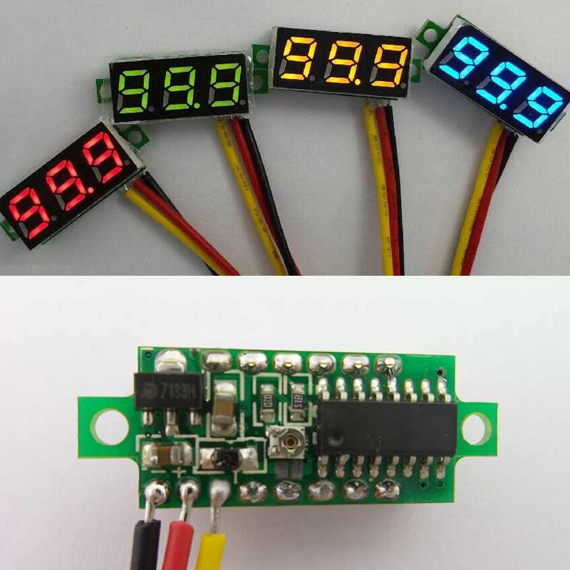 Free Shipping 5 PcsMini DC 0-100V LED 3-Digital Display Voltage Voltmeter Panel Motor 3 Wires