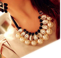 Fashion Multilayer Collier Imitated Pearl Choker Statement Necklace for Women Jewelry Ribbon Necklaces Pendants with Crystal